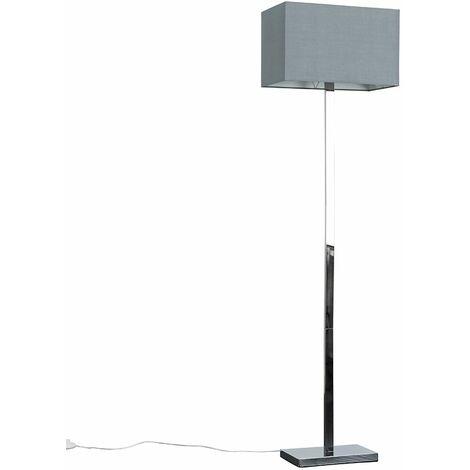 Minisun Standard Floor Lamp Chrome Lighting Grey Fabric Rectangle Shade