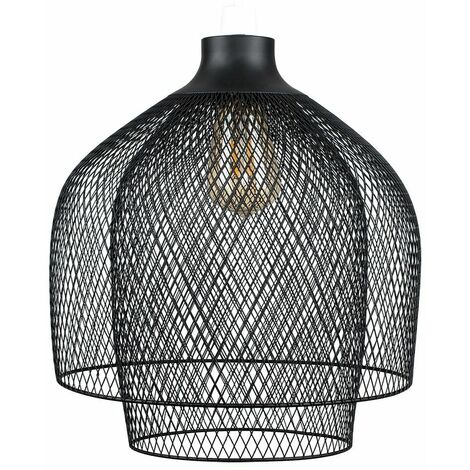 Minisun Steampunk Matt Black Mesh 2 Tier Ceiling Pendant Light Shade - No Bulb
