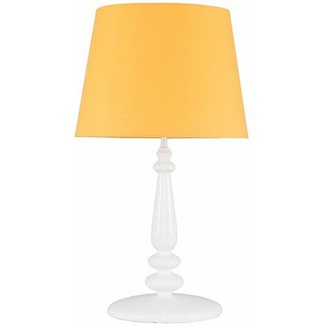 MiniSun Tall Traditional White Spindle Sculptured Polyresin Table Lamp + Mustard Tapered Light Shade