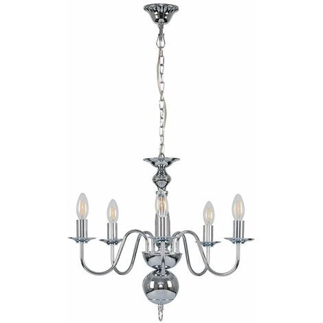 MiniSun Traditional 5 Way Flemish Ceiling Light Chandelier + 2W LED Filament Candle Bulbs - Chrome - Silver