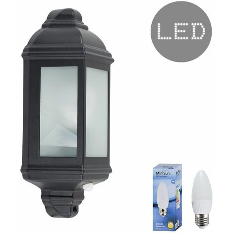 "main image of ""Traditional Aluminium PIR Motion Sensor Outdoor Garden Wall Lantern IP44 Light + 4W LED Candle Bulb - Warm White"""