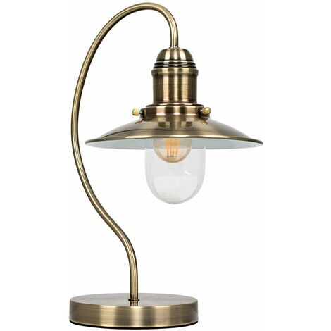 Minisun Vintage Lantern Bedside Touch Dimmer Table Lamp - Antique Brass