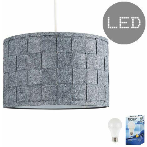 "main image of ""Weave Ceiling Pendant Light Shade Grey Felt Finish - BC B22"""