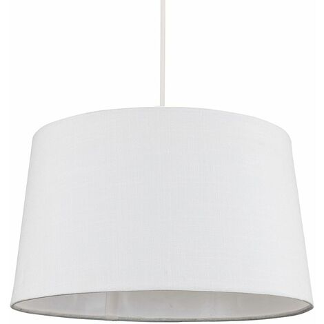 Minisun White Faux Linen Ceiling Pendant / Table Lamp Light Shade - 10W LED Gls Bulb Warm White - White