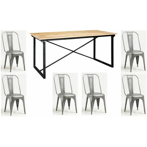 Mintis Upcycled Industrial 180cm Seater Dining Table Set with 6 Metal Grey Chairs - Light Wood