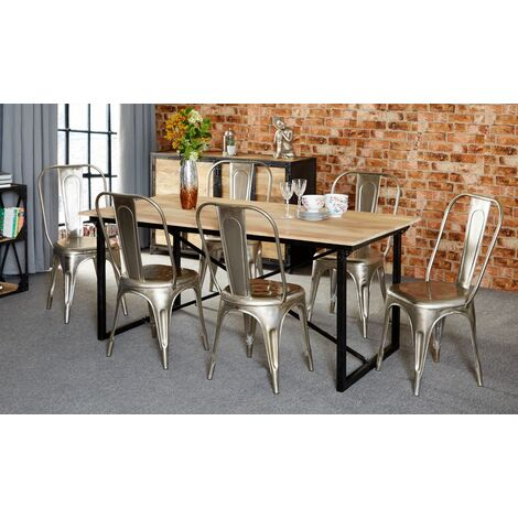 Mintis Upcycled Industrial 180cm Seater Dining Table Set with 6 Metal Silver Chairs - Light Wood