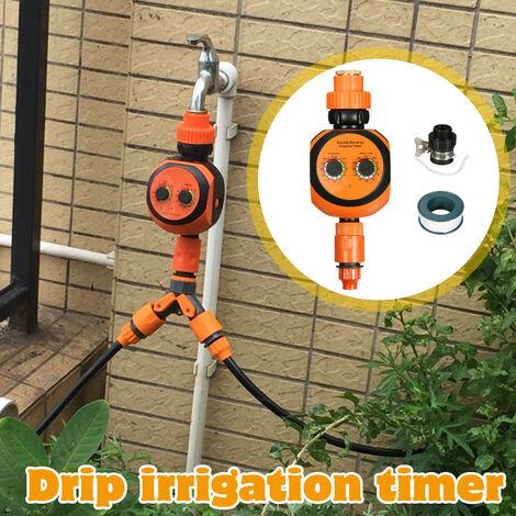 Minuterie d'arrosage automatique de jardin de kit de contr?leur double d'irrigation goutte à goutte automatique