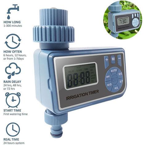 Minuterie d'arrosage Minuterie d'eau numérique Programmable à sortie unique Minuterie de tuyau en mode automatique et manuel , Contrôleur d'irrigation IP65 pour cour extérieure, jardin, pelouses