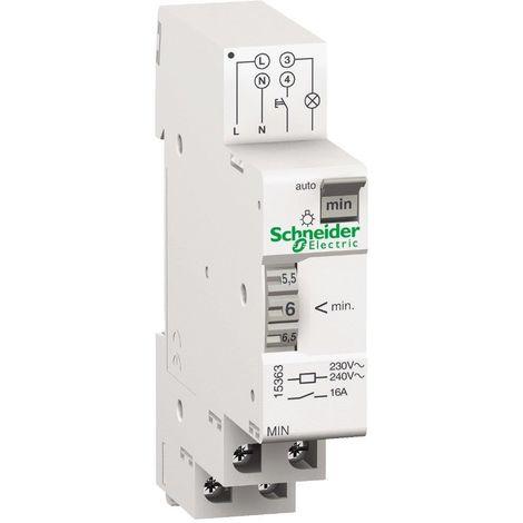 Minuterie modulaire 16A tempo réglable 1-7 minutes 1M 230V pour circuit eclairage Acti9 MIN SCHNEIDER 15363