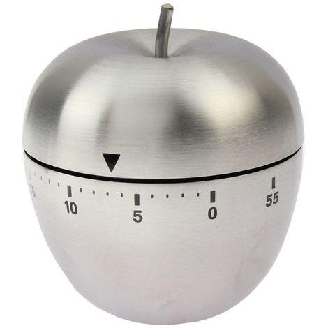 Minuteur Cuisine Minuterie mécanique en forme de pomme en acier inoxydable