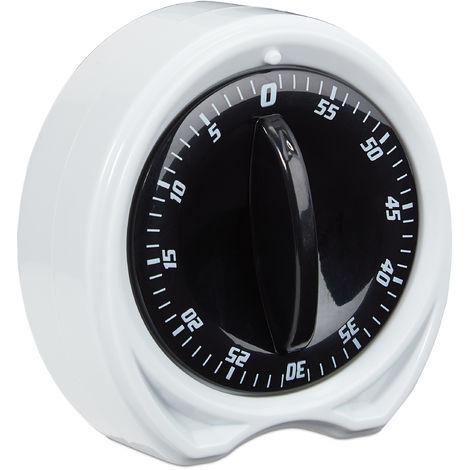 minuteur de cuisine, 1h intervalle de temps, alarme, accessoire de cuisine, mécanique, D: 8 cm, blanc/noir