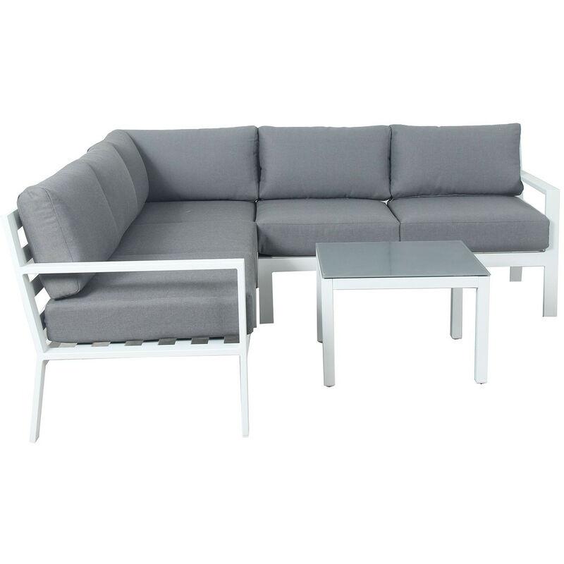 MIO - Salon de jardin design aluminium - Blanc Gris - intérieur/extérieur