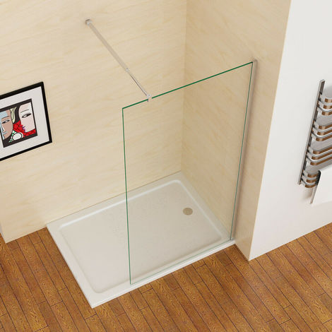 """main image of """"MIQU 1200 mm Wet Room Screen Walk in Shower Door Panel Shower Enclosure 8mm Easy Clean Nano Glass with Adjustable Support Bar 1950 mm Height"""""""