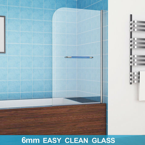 """main image of """"MIQU 180° Pivot Bath Screens Shower Screen Easy Clean Glass Panel Shower Door (with Towel Rail)"""""""