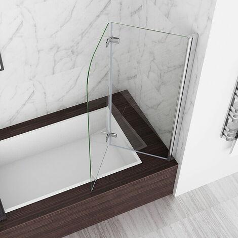 "main image of ""MIQU 2 Fold Folding Shower Screen Bath Screen 180° Hinge Door Panel 6mm Easy Clean Glass (1200x1400mm)"""