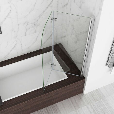 "main image of ""MIQU 2 Fold Folding Shower Screen Bath Screen 180° Hinge Door Panel 6mm Easy Clean Glass (900x1400mm)"""