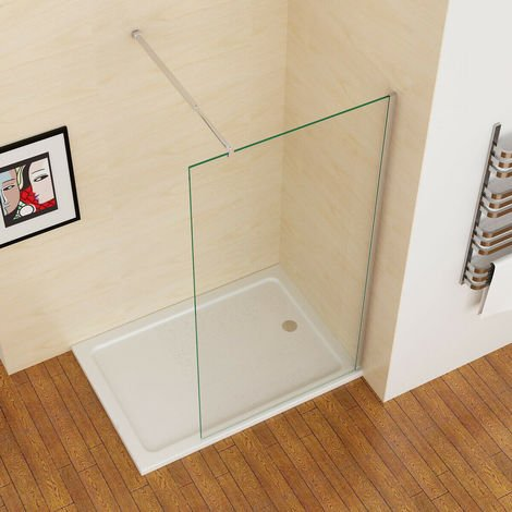 MIQU 900 mm Wet Room Screen Walk in Shower Door Panel Shower Enclosure 8mm Easy Clean Nano Glass with Adjustable Support Bar 1950 mm Height