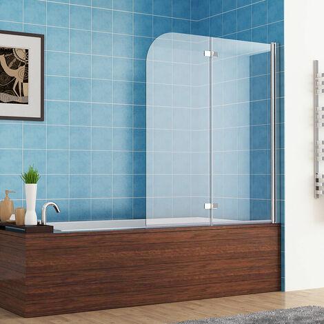 MIQU Bath Screen Shower Screen 2 Fold Folding 180° Hinge Door Panel 6mm Easy Clean Glass