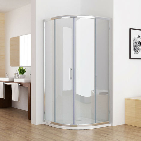 MIQU Offset Quadrant 6mm Sliding Door Nano Easyclean Glass Shower Enclosure and Tray Corner Cubicle