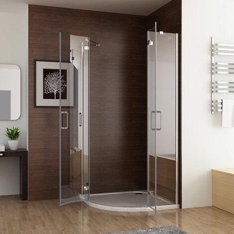MIQU Quadrant Frameless 6mm Pivot Door Shower Enclosure Easyclean Glass and Tray