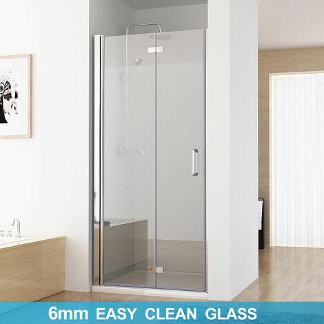 MIQU Shower Door Frameless Pivot 6mm Safety Easyclean Glass Bifold Shower Enclosure Door 700 x 1850 mm - No Tray