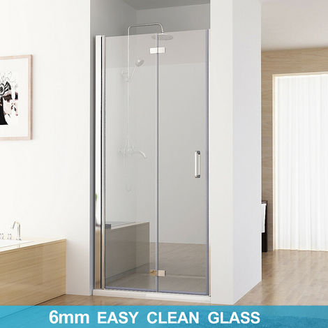 MIQU Shower Door Frameless Pivot 6mm Safety Easyclean Glass Bifold Shower Enclosure Door 900 x 1850 mm - No Tray