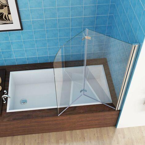 MIQU Shower Screen 2 Fold Folding Bath Screen 180° Hinge Door Panel 6mm Easy Clean Glass