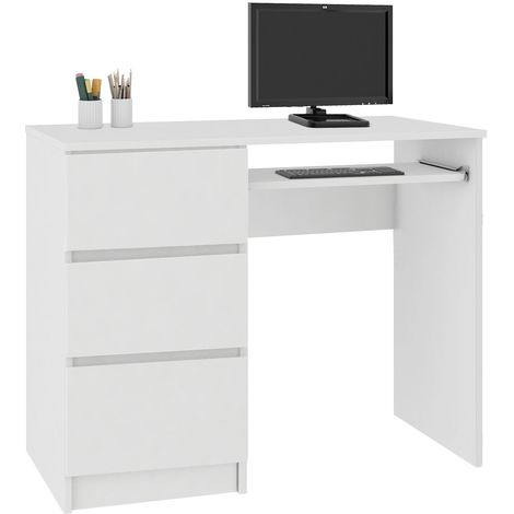 MIR | Bureau informatique multimédia moderne 90x77x50 | 3 tiroirs + support clavier | Table ordinateur multi-rangements | Blanc