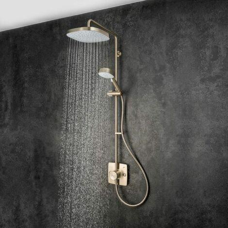 "main image of ""Mira Opero Bathroom Thermostatic Mixer Shower Nickel Twin Adjustable Head Modern"""