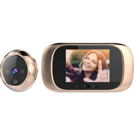 Mirilla digital para visor de puerta, timbre de camara de puerta, 2.8 pulgadas, dorado