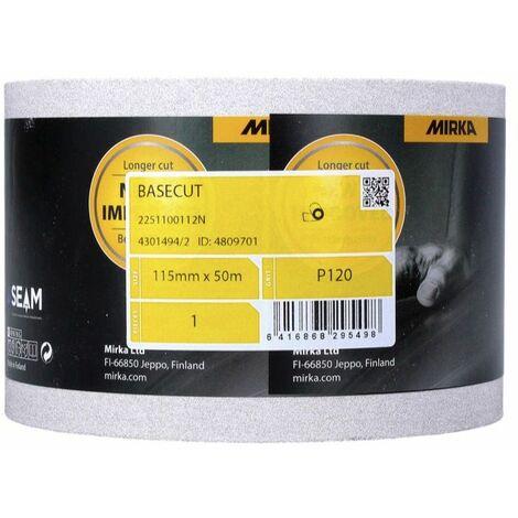 Mirka BASECUT Rouleau de papier abrasif 115 mm x 50 m, P120, Papier abrasif universel ( 2251100112N )