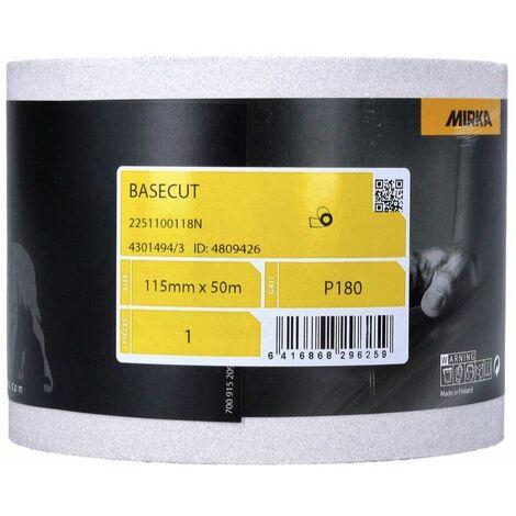 Mirka BASECUT Rouleau de papier abrasif 115 mm x 50 m, P180, Papier abrasif universel ( 2251100118N )
