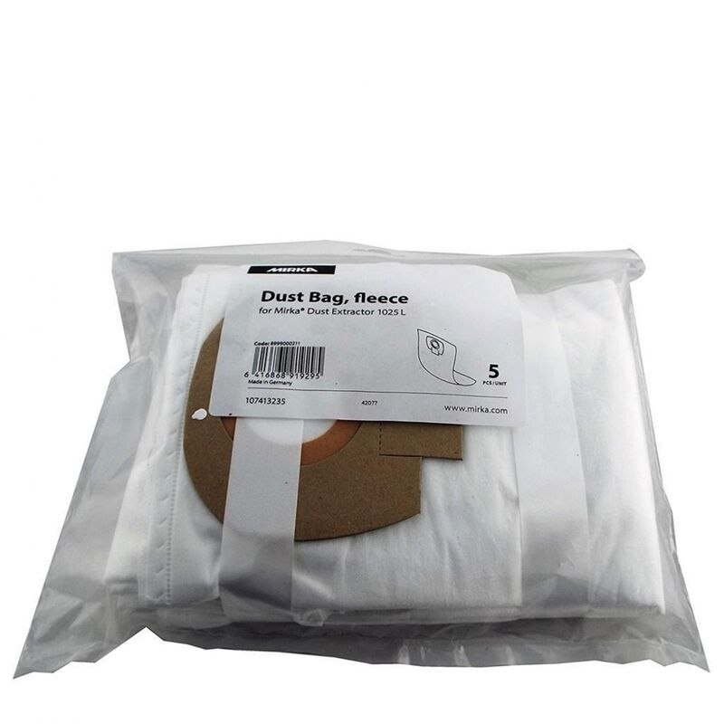 Image of Mirka Dust Extraction Vacuum Fleece Dust Bags for 1025 L Dust Extractor (5 Pack)