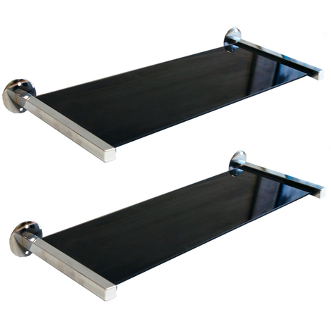 MIRO - Glass Wall Storage /Display Shelves - Set of 2 - Black / Silver