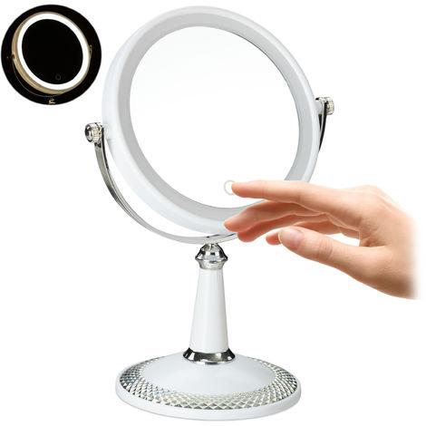 Miroir à cosmétique LED, miroir à maquillage lumineux, pivotant, à piles, HxLxP 28,5x20,5x13,5 cm, blanc