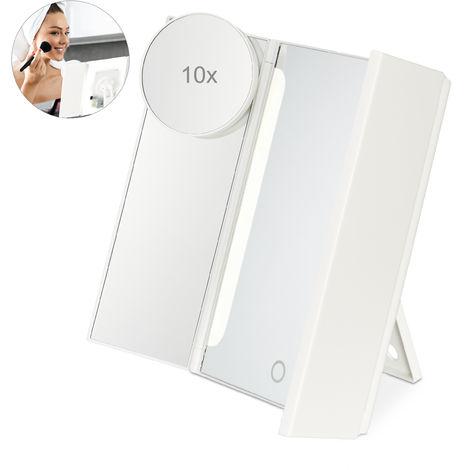 Miroir à maquillage avec lumière, 3 parts pliables, miroir à cosmétique lumineux à piles, 23x35x12 cm, blanc