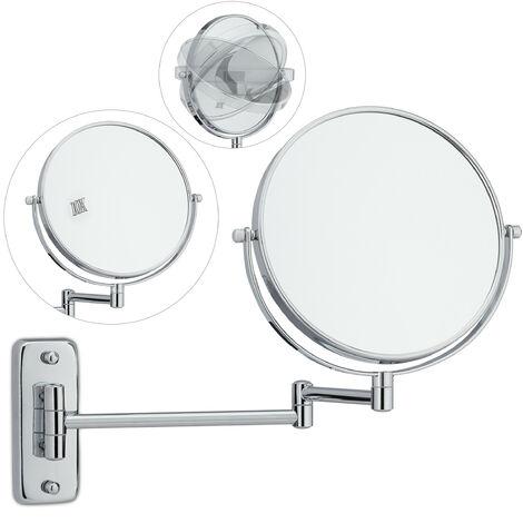 Miroir à maquillage montage mural, sur 2 côtés avec un grossissement x10, autonome, rond, HLP: 17,5 cm, argent