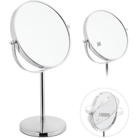 Relaxdays Miroir à maquillage, sur 2 côtés avec un grossissement x10, autonome, rond, HLP: 38x23x13,5 cm, argenté