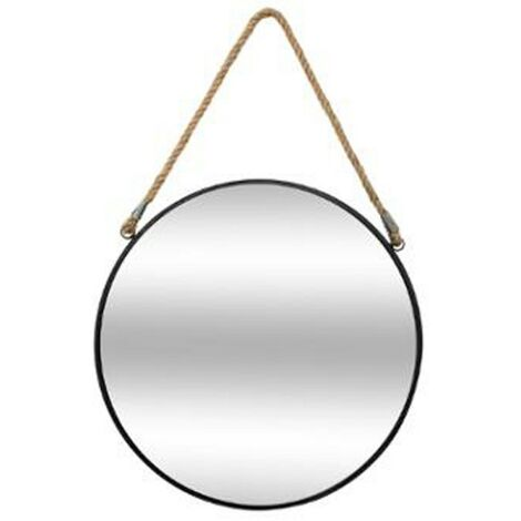 Miroir à Suspendre en Métal Rond 37cm Noir