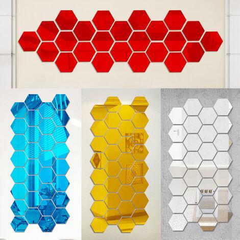 Miroir acrylique autocollant mural en trois dimensions autocollant miroir cadre hexagonal, miroir argente taille moyenne 12,6 * 12,6 cm (12 pieces dans un ensemble)
