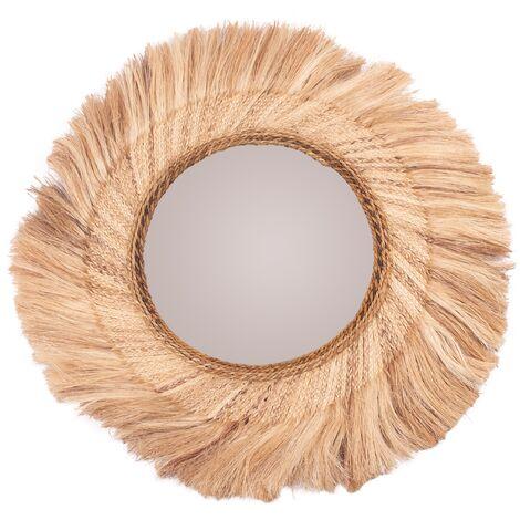 Miroir Alaia en matière naturelle Ø 91 cm - Beige