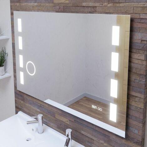 Miroir anti-buée EXCELLENCE 120x80 cm - éclairage intégré à LED, interrupteur sensitif, loupe et heure