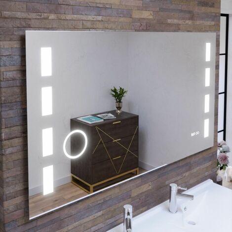 Miroir anti-buée EXCELLENCE 140x80 cm - éclairage intégré à LED, interrupteur sensitif, loupe et heure