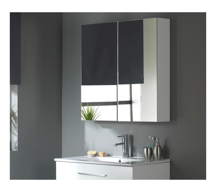Miroir Armoire 80 Cm Blanc Laque