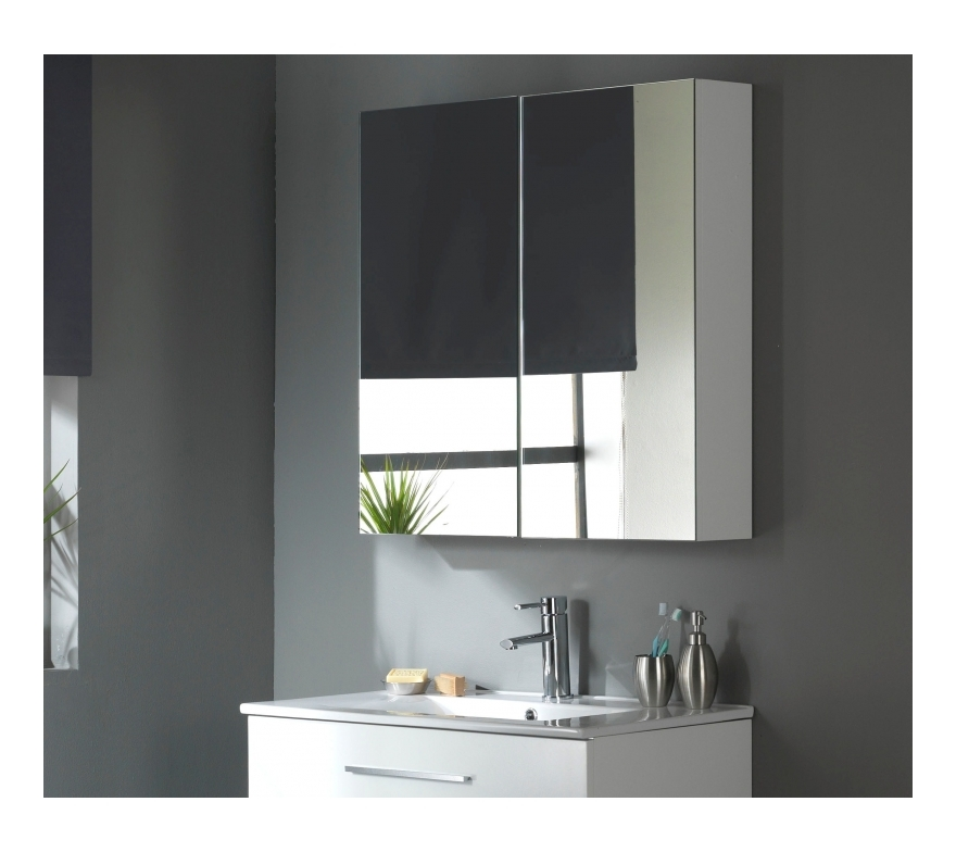 miroir armoire 80 cm blanc laqu. Black Bedroom Furniture Sets. Home Design Ideas