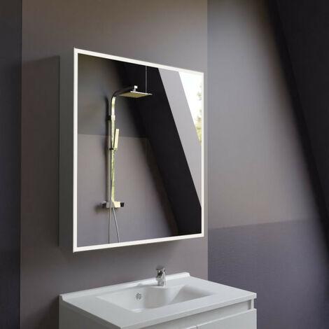 Miroir armoirette LED rétro-éclairé avec prise et interrupteur ARMILED - 80 cm