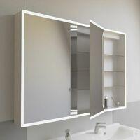 Miroir armoirette LED rétro-éclairé portes à gauche ARMILED - 120 cm