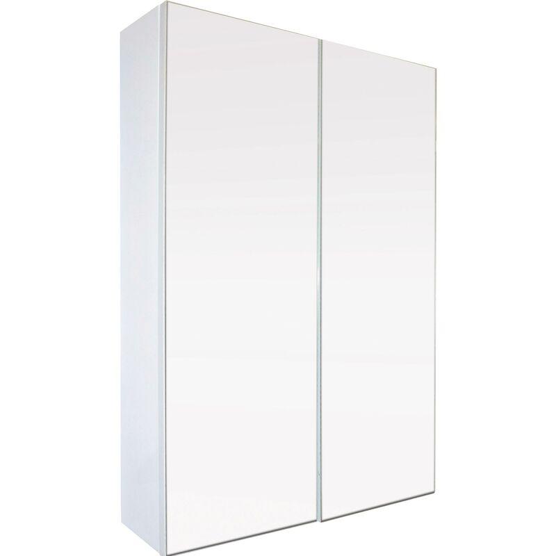Miroir armoirette simple - 60x65cm - Blanc - Mélaminé et façade verre miroir