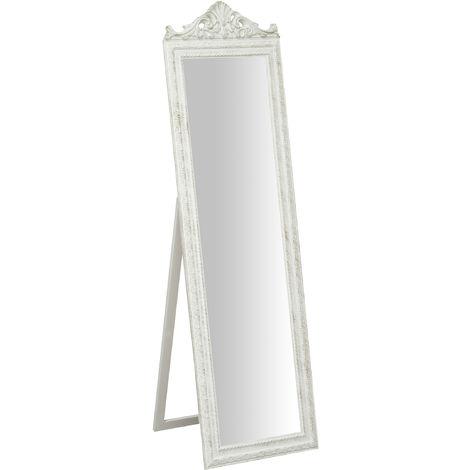 Miroir au sol sur pied avec finition blanc antique CON GRECA