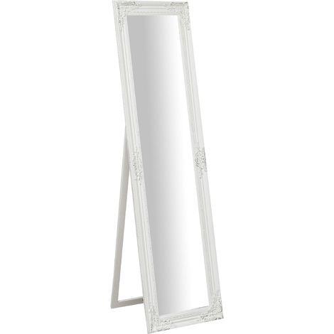 Miroir au sol sur pied avec finition blanc antique L44xPR3XH164 cm